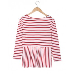 2071 stripes round neck lotus leaf hem long sleeves t-shirt
