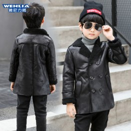 7302 Winter children's lapel double-breasted thick warm leather jacket