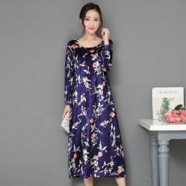 A076 velvet printing fashion loose dress