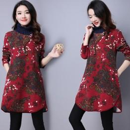 9087 folder cotton knitted print thick dress