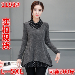 1193 plus size dot splicing knitted fake two piece tops