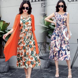9405 large size printing sleeveless dress with half sleeve cardigan