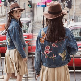 8903 loose retro embroidered short denim jacket