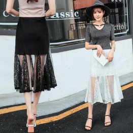 jA389 high waist lace fishtail skirt