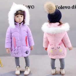 177371 children's winter cute rabbit big hair collar thickening warm hooded cotton coat