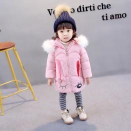 177371 children's winter cute rabbit big hair collar thickening warm hooded cotton coat