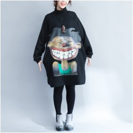 9962 wool lining print long sweatshirt