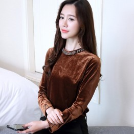 837 long sleeve temperament gold velvet blouse