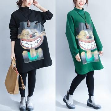 9962 wool lining print long sweatshirt