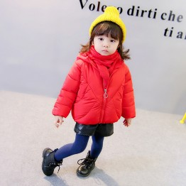 177370 small girl's winter cute rabbit ears scarf thickening warm hooded cotton coat