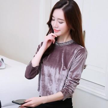 837 long sleeve temperament gold velvet blouse