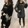 2698 thick loose letters sequined embroidered gold velvet sweatshirt
