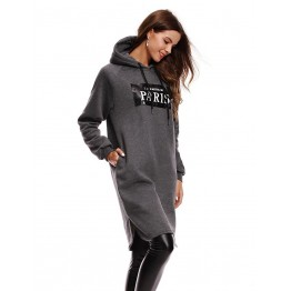 9814A long thick letters print hooded fleece dress