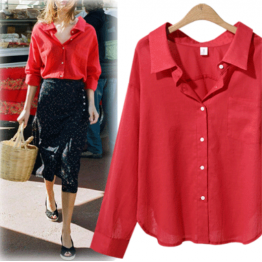 7098 loose long sleeve V-neck women's solid color shirt