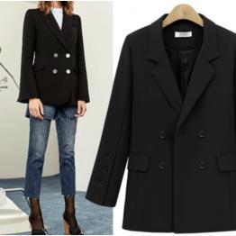 7107 autumn joker loose long jacket suit