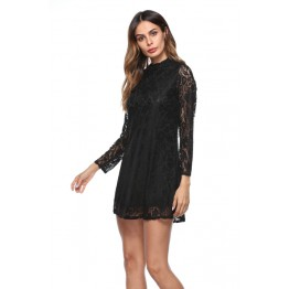 6073 Euramerican solid nine-point sleeves lace dress