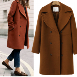 7117 large size women's wool long coat