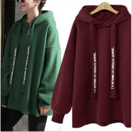 7119 loose hooded letters print sweatshirt