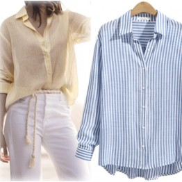 7095 street shot temperament stripes casual shirt
