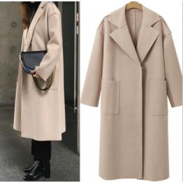 7118 Euramerican autumn and winter solid cashmere long woolen coat