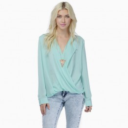 Euramerican fashion solid color cross large lapel drape chiffon shirt