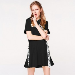 2018 spring and summer short-sleeve letters streamers flounced hooded dress