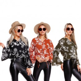 9846A V neck print trumpet sleeve shirt