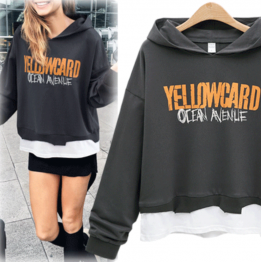 7112 printing fake two piece hooded sweatshirt