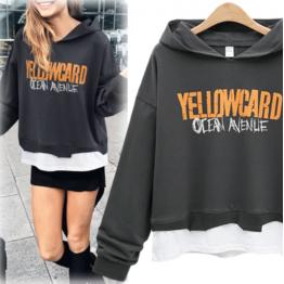 7112 printing fake two piece hooded sweatshirt