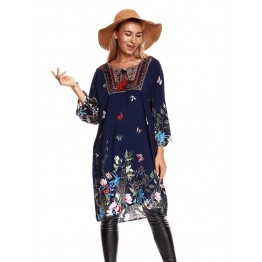 9817A fashion national style autumn vintage dress