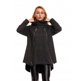 9825 long zipper decoration woolen coat
