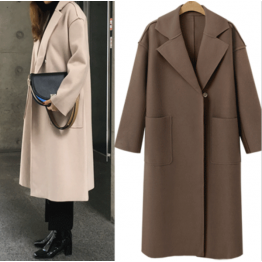 7118 Euramerican autumn and winter solid cashmere long woolen coat