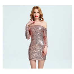 Boat neck off shoulder slim boobs sexy sequined dress