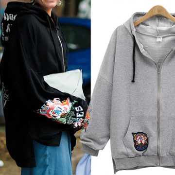 7109 new autumn and winter loose letters hooded zipper jacket