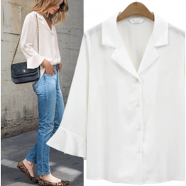 7092 personality V collar temperament long sleeve solid-color shirt