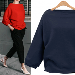 7111 Euramerica fall boat neck thin sweatshirt