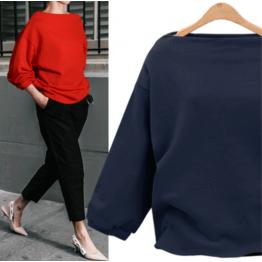7111 Euramerica fall boat neck thin sweatshirt