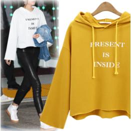 7102 white pullover print hooded sweatshirt