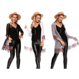 9821A autumn embroidery lace shirt