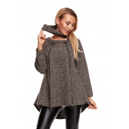 9825 long zipper decoration woolen coat