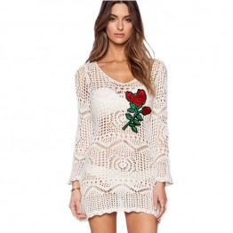 859 Amazon trendy knitted embroidery beach blouse