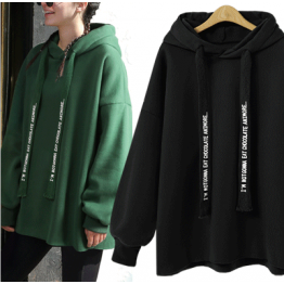 7119 loose hooded letters print sweatshirt