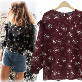7096 floral long sleeve trumpet chiffon shirt