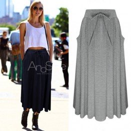 7091 lacing bow knit comfortable knit skirt
