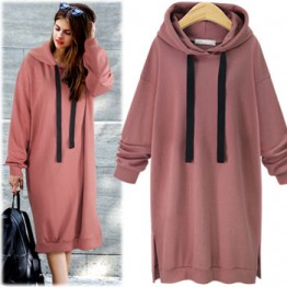 7116 hooded long sleeve long sweatshirt dress