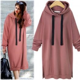 7116 hooded long sleeve long sweatshirt dress