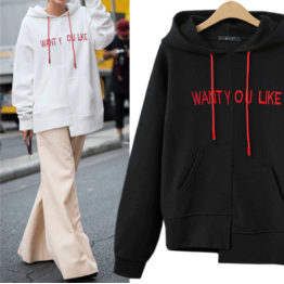 7115 printing irregular letter hooded sweatshirt