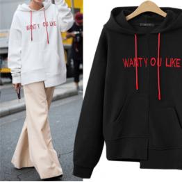 7115 printing irregular letter hooded sweatshirt
