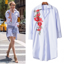 7055 early spring hand-embroidered long striped thin casual shirt