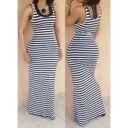 9815 navy stripes vest long dress